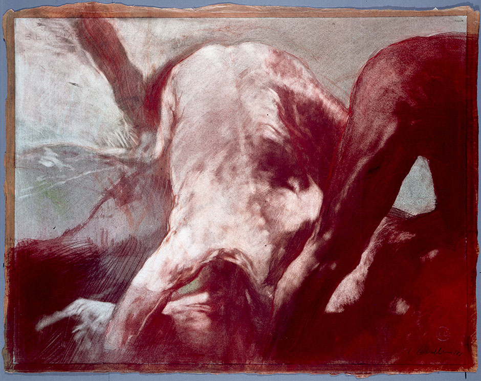 Luis Caballero. Sin Título, 1988 - Pigmentos de óleo, pastel y sanguina sobre papel - 49 X 64 cm